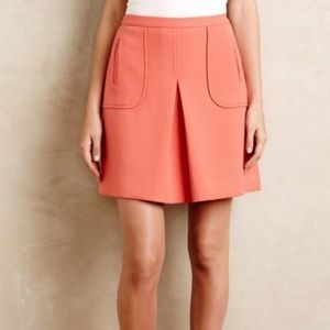 ANTHRO Maeve Coral Pleated Lined  A Line Skirt